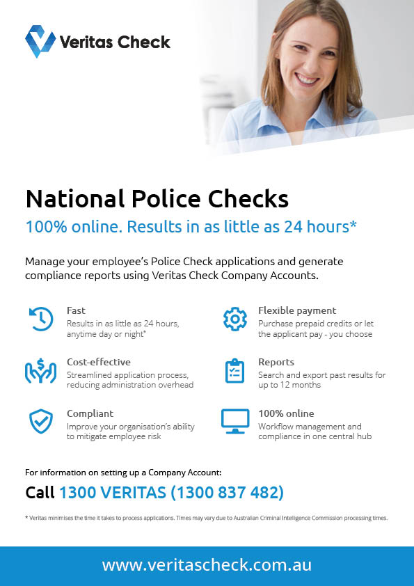 Veritas Check Police Check Company Accounts